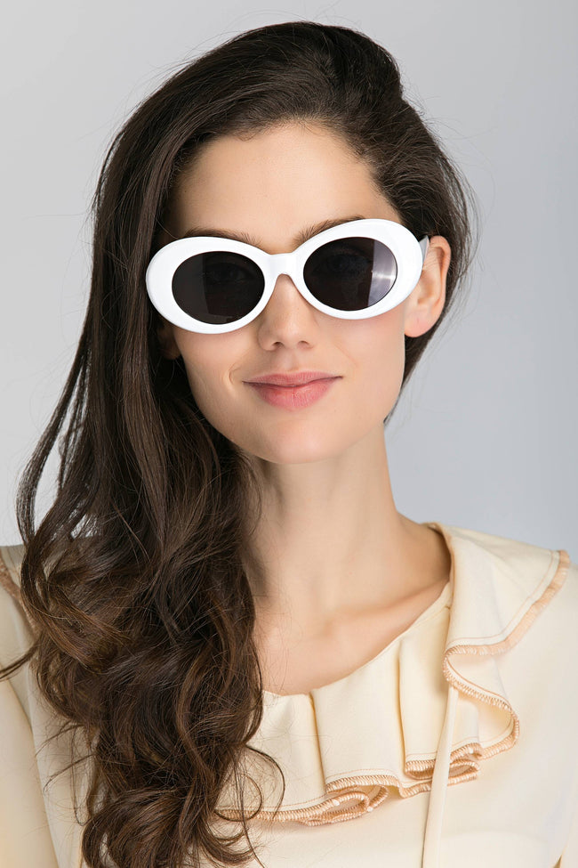 White Round Slim Cat Eye Sunglasses