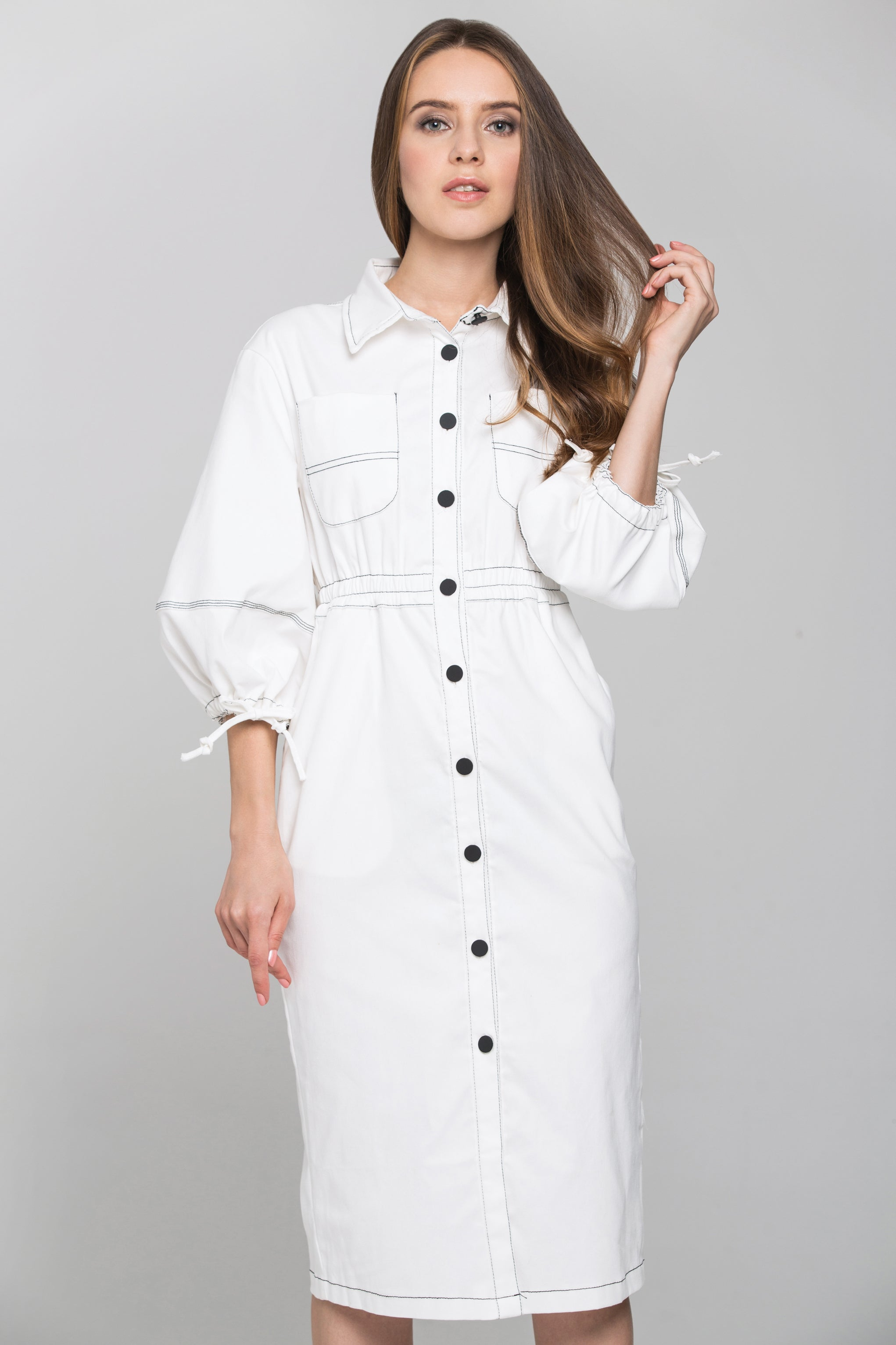 ee4e38625bab White and Black Contrast stitch Puff Sleeves Midi Shirt Dress – OwnTheLooks