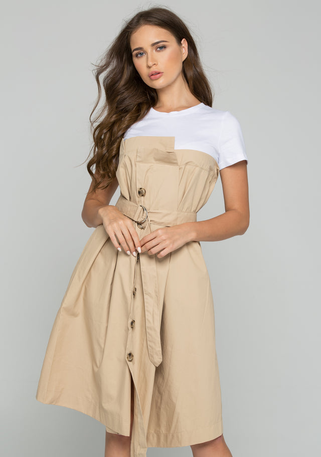 85270cb88cc46 OwnTheLooks. White and Khaki Button-down Belted Midi Dress