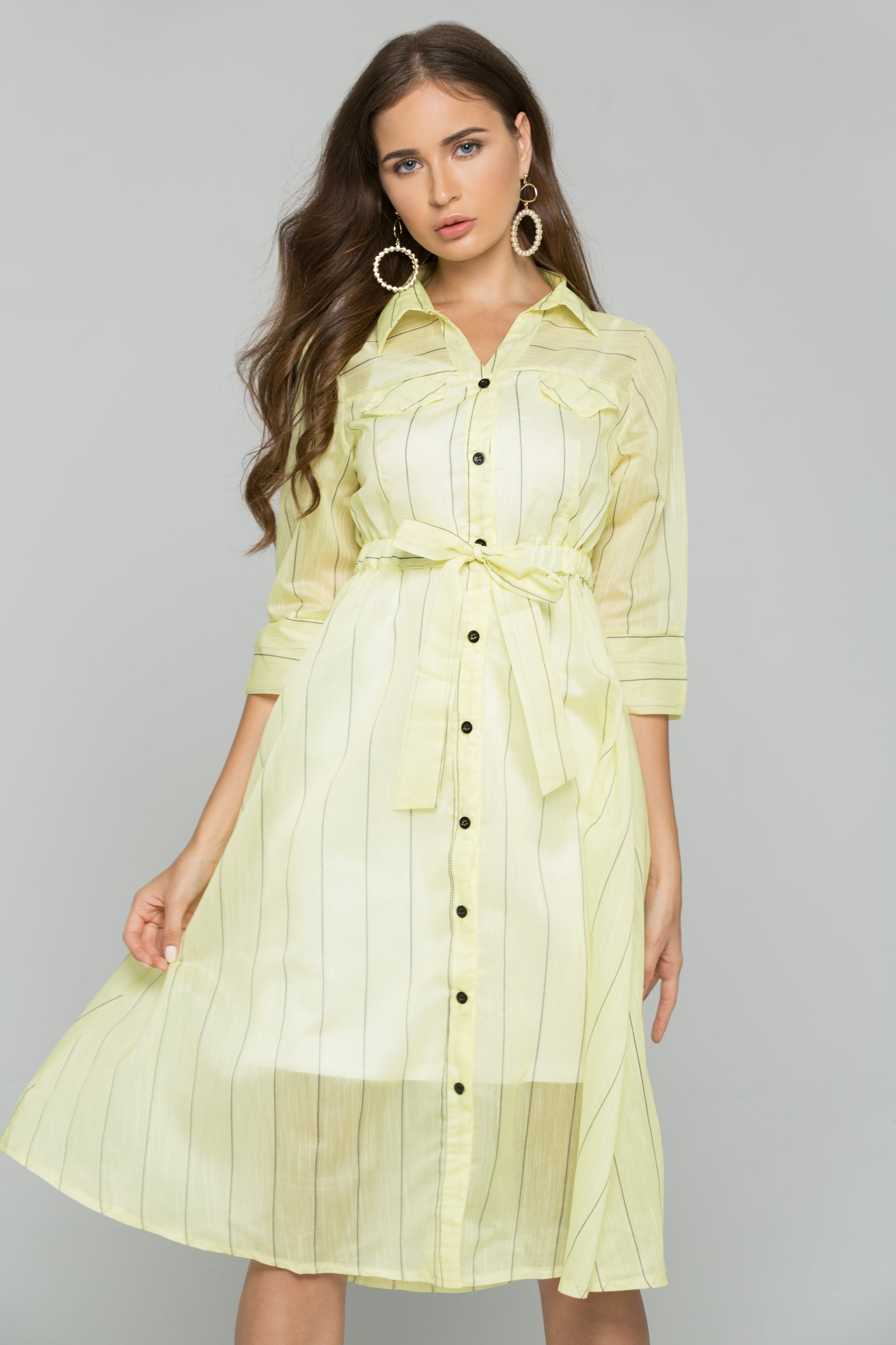 99c9d22739333 22 people are viewing this item right now. Yellow Cotton Striped Button-Down  Belt Strap Shirt Dress
