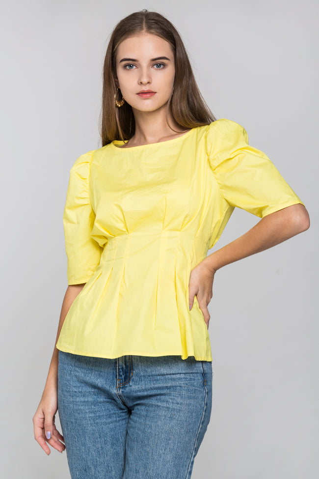 Yellow Pleated Waist Puff Sleeves Top