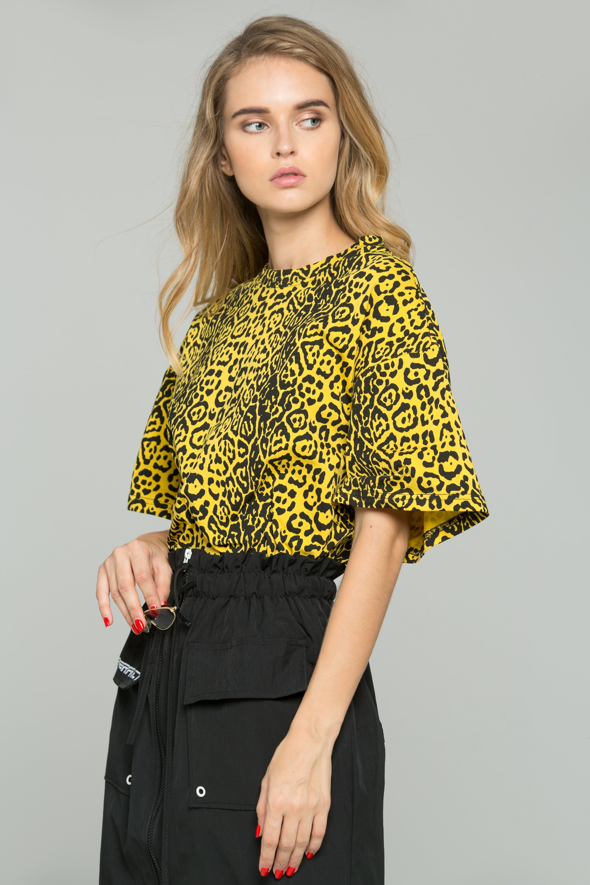 163a5c5e182f Yellow and Black Leopard Print Oversized Blouson Top – OwnTheLooks
