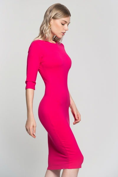 7a80febd2a9e Hot Pink Bodycon Midi Dress – OwnTheLooks