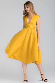 Royal Yellow Plunge Midi Ball Dress