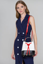Black Red White Mini Bucket Bag