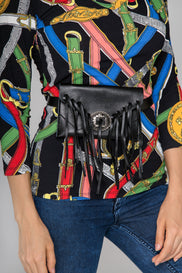 Deema Al Asadi - Black Tasseled Mini Belt Bag