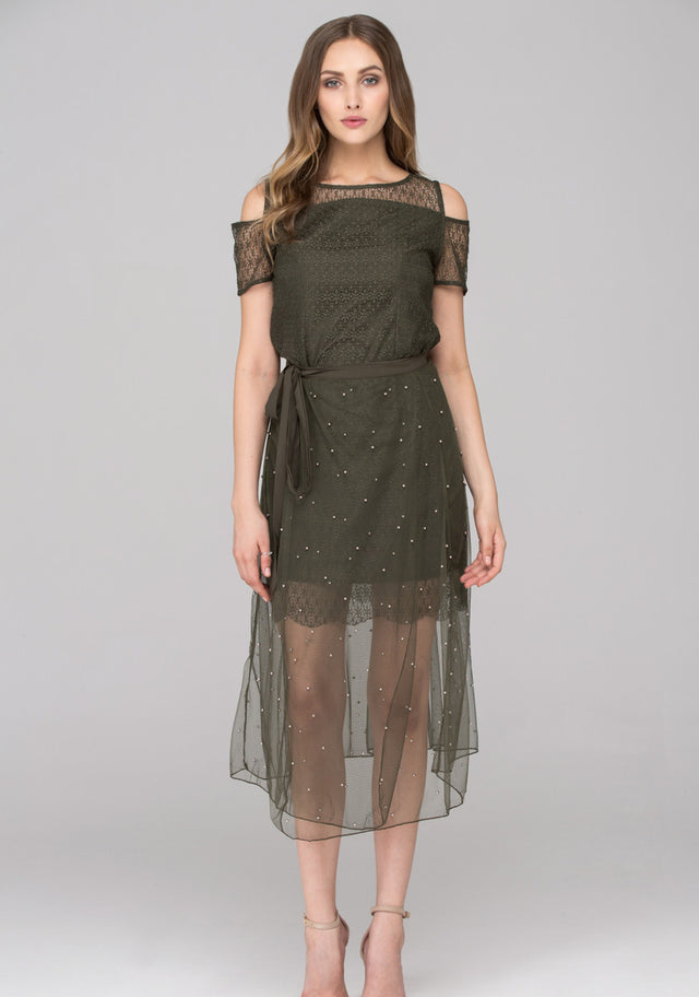 444424f9cc64 OwnTheLooks. Army Green Lace Cold Shoulder Two Piece Dress