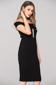 Black Off the shoulder Bodycon Ring Midi Dress