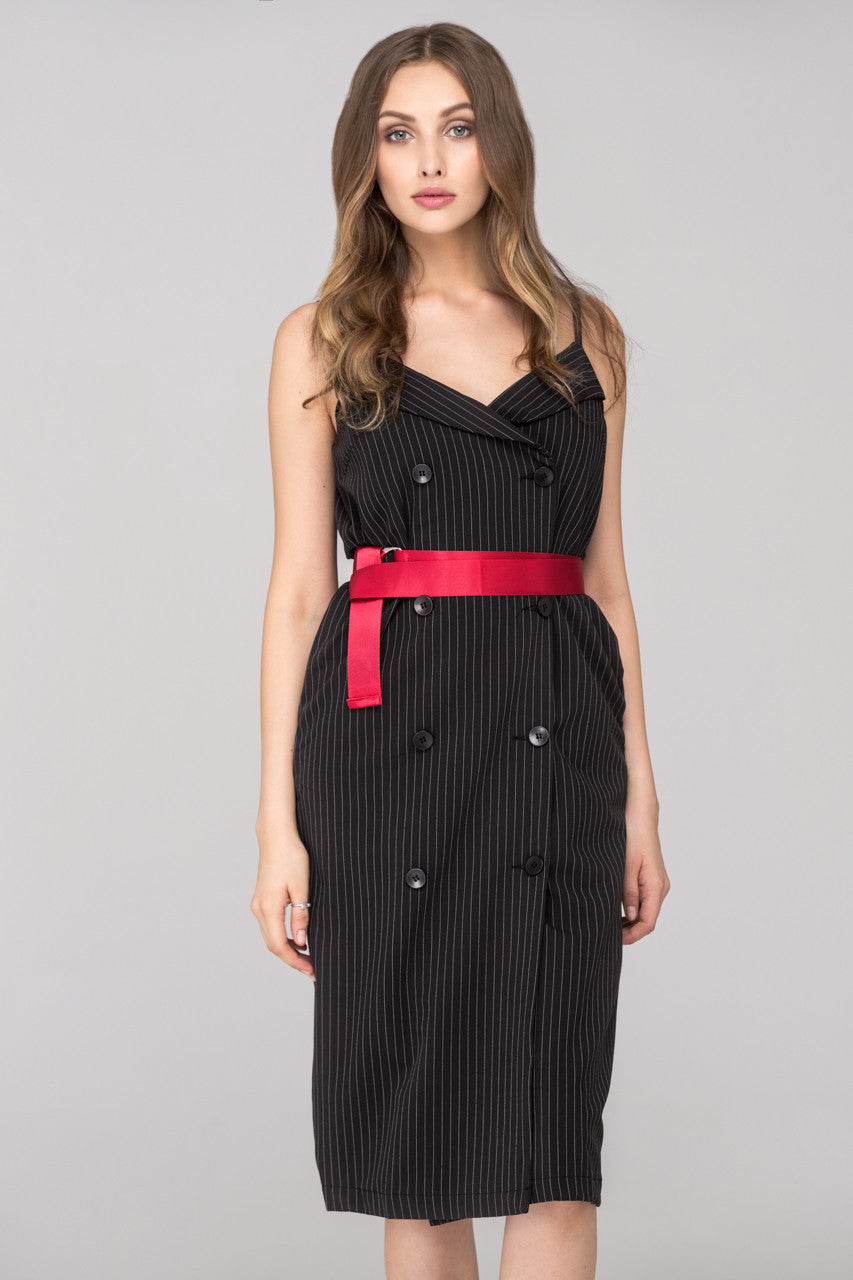 2e0be23ca2 Rania Fawaz - Black Pinstripes Double Button Midi Dress with Red Belt –  OwnTheLooks