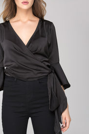 Black Satin Trumpet Sleeve Wrap Around Top