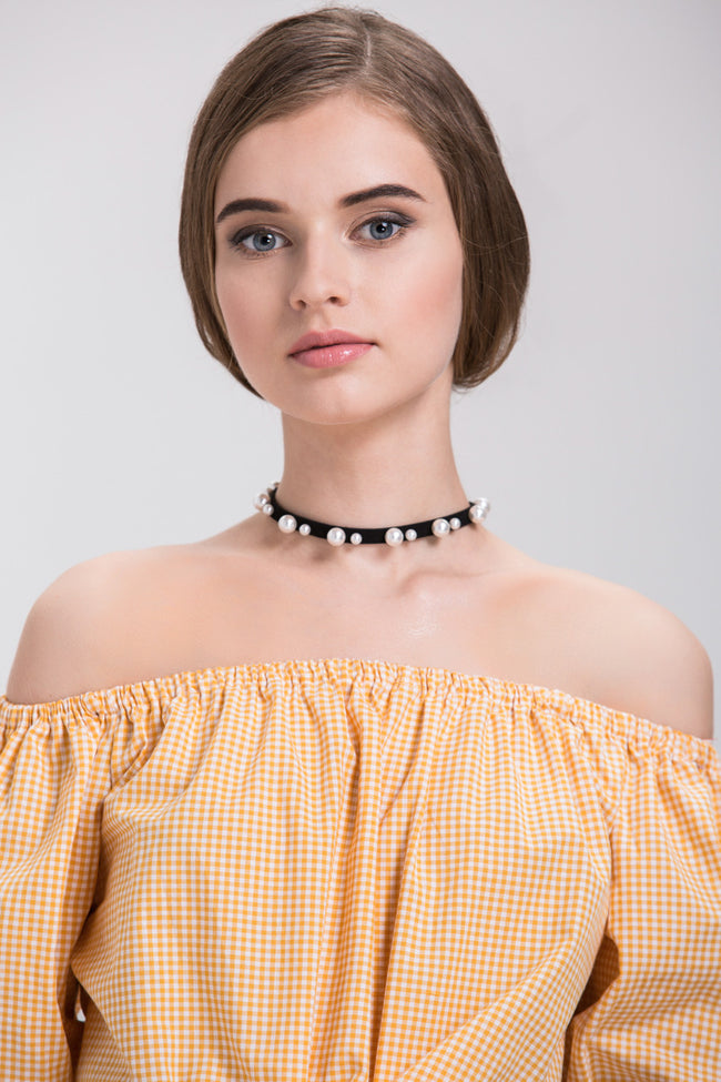 Black Suede Pearl Detail Choker Necklace