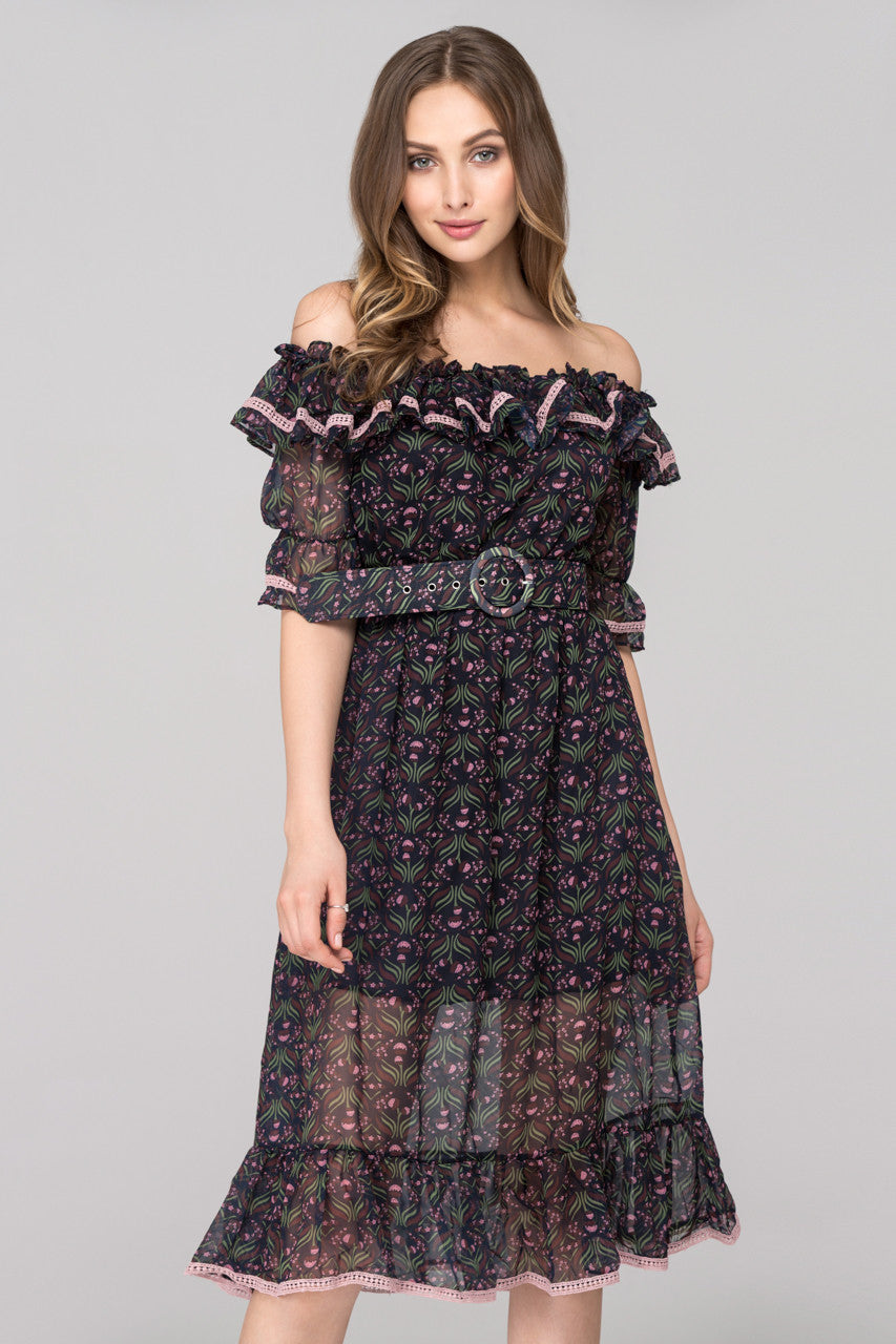 00629fe095627 Blue Violet Printed Ruffled off the shoulder Midi Dress with Belt –  OwnTheLooks