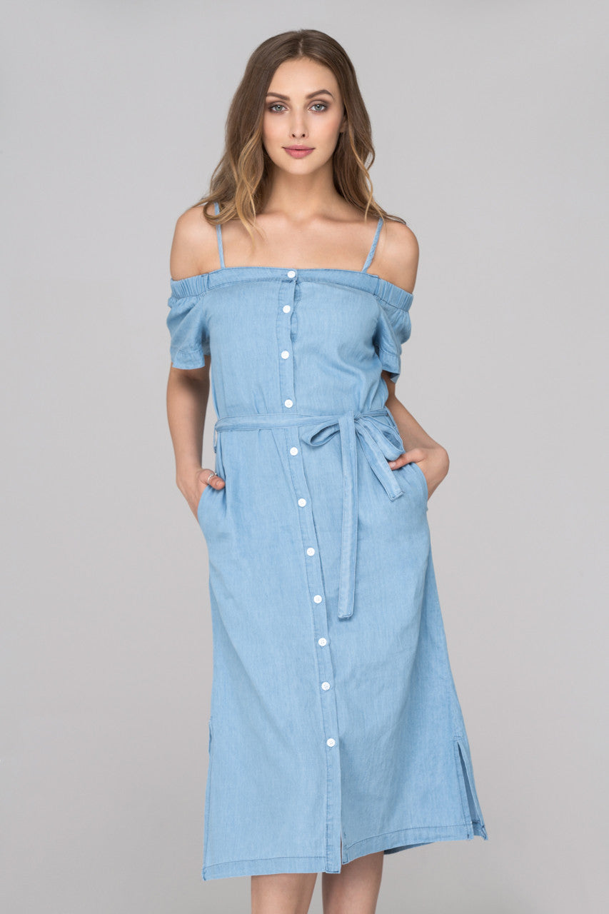 Light Blue Denim Button Up Midi Dress
