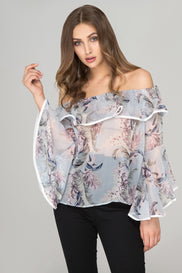 Sheer Floral off the shoulder Top