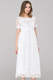 White Embroidered Soft Tulle Maxi Dress