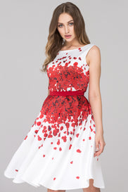 White and Red Rose Petal Two Piece Midi Dress