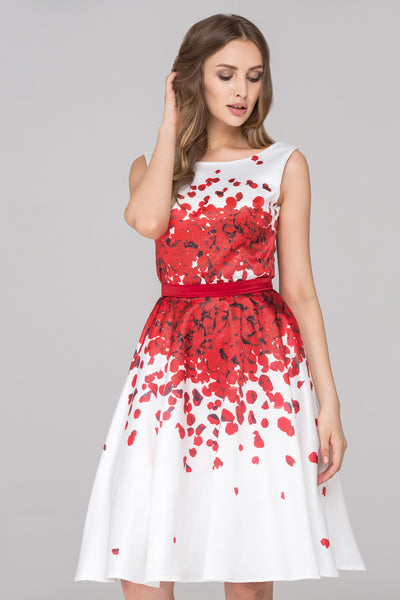 36b0310f9628 White and Red Rose Petal Two Piece Midi Dress – OwnTheLooks