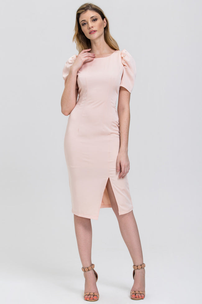 Peach Satin Pearl Sleeve Pencil Midi Dress