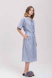 Rawan Bin Hussain - Pin Stripes Denim Culottes Co-ord