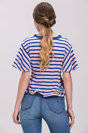 Pink and Blue Stripe Flare Hem Corset T-shirt
