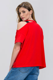 Red Asymmetric Black Belt Detail T-shirt