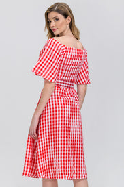 Rawan Bin Hussain - Red Gingham Belted midi Dress