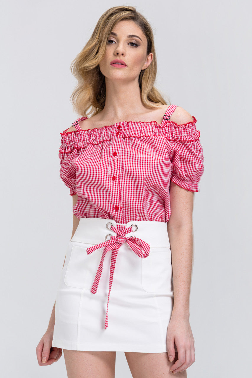 7b044c3910a2a Red Gingham Button Up Top and White Skirt 2 piece set Set – OwnTheLooks