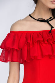 Red Yoke Mesh Ruffle Trumpet Midi Dress