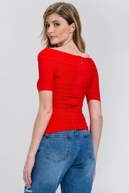 Red Zip Up off the shoulder Band Top