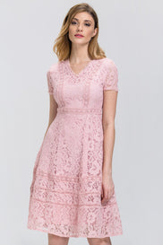 Rose Pink Lace Midi Dress