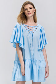 Sky Blue V-Lace Up Ruffled Tunic Mini Dress