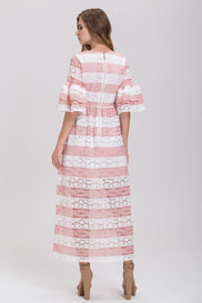 Striped Pink Lace Tiered Ruffle Sleeved Maxi Dress