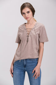 Taupe Deep V-neck Lace Up T-shirt