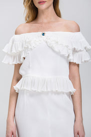 The Real Fouz - White Ruffled Crepe Off the Shoulder Two-piece Midi Dress