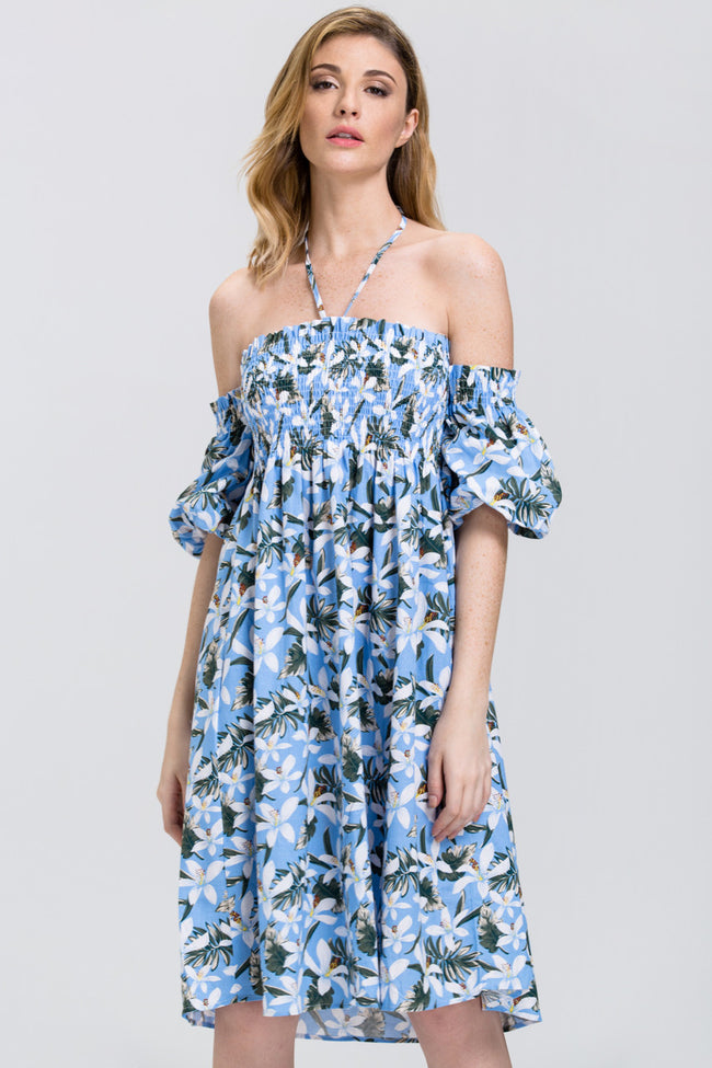 Tropical Flower Print Off the Shoulder Midi Dress