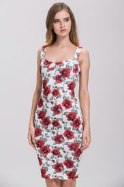 Rania Fawaz - Vintage Rose Print Pencil Midi Dress