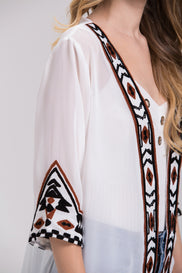 White Sheer Aztec Trim Robe Cardigan Top