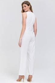 White Bow Waist Sleeveless Palazzo Jumpsuit