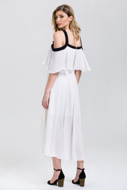 Fatima Almomen - White Chiffon Black Strap Off the Shoulder Midi Dress
