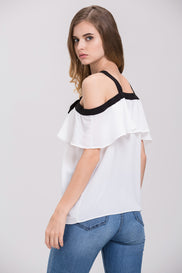 Mina Al Sheikhly - White Chiffon Ruffled Cold Shoulder Top
