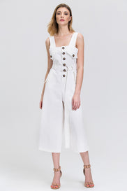 White Cotton Twill Button Up Wide Leg Cropped Jumpsuit