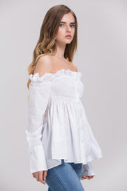 Dima Al Sheikhly - White Elastic Long Sleeves Button Up Off the Shoulder Top