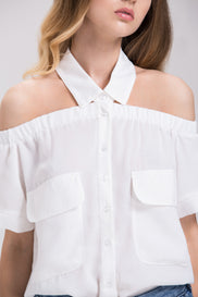 White Haltered Collar Off the Shoulder Top