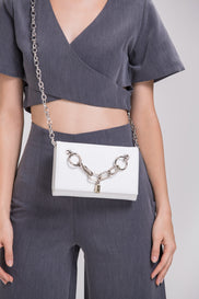 White Lock and Chain Mini Sling Bag