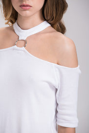 White Ring Choker Cold Shoulder Top