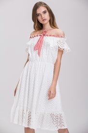 Maram Zbaeda - White Ring Lace Off the Shoulder