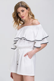 White Ruffled Off the Shoulder Drawstring Playsuit