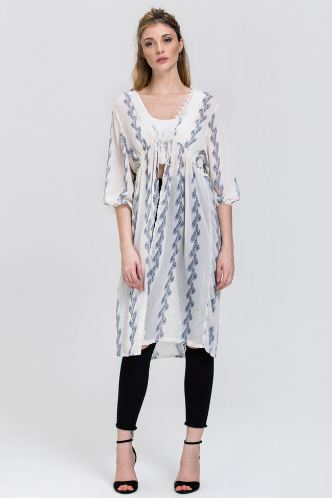 White Sheer Feather Print Long Robe Top