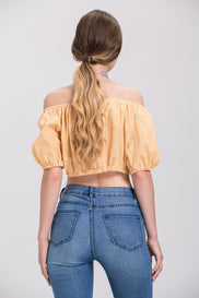 Rania Fawaz - Yellow Gingham off the shoulder Tie up Crop Top