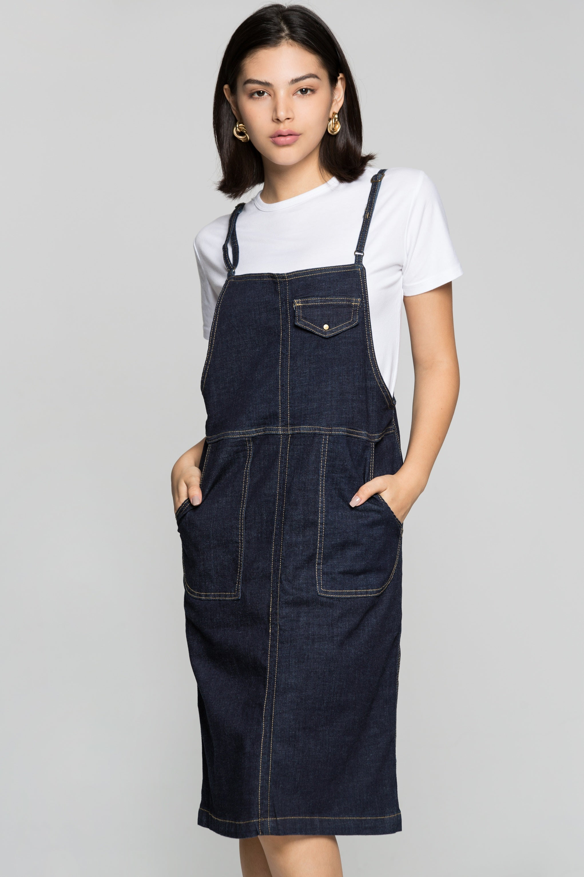 3de3b29a05ed5 Steel Blue Denim Midi Dungarees – OwnTheLooks